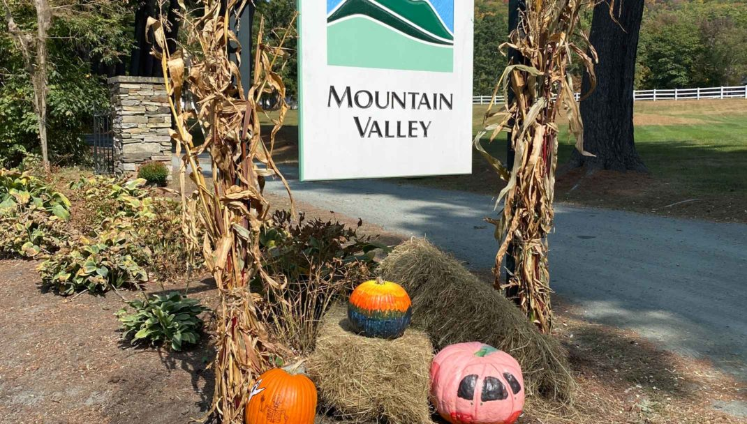 MVTC sign and seasonal pumpkins